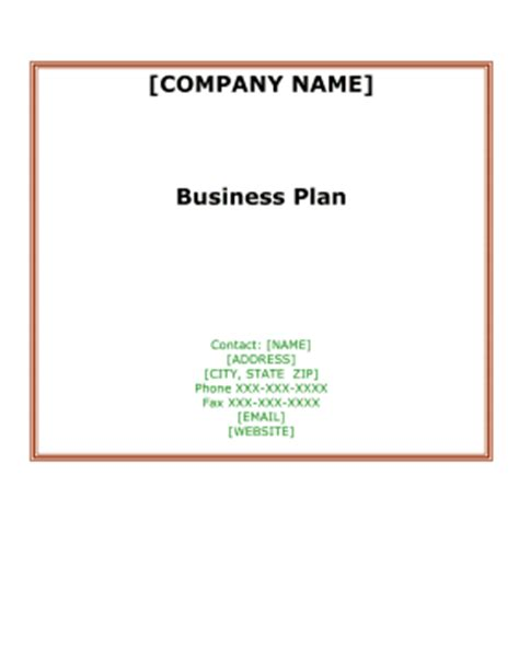 Business Plan Templates 40-Page MS Word 10 Free Excel